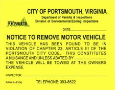 Notice to Remove Motor Vehicle