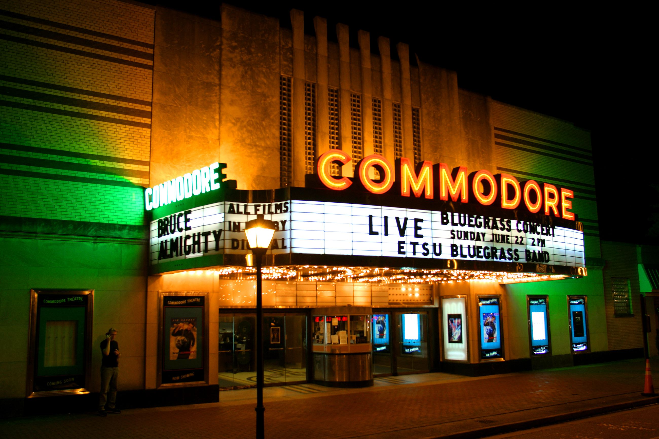 Commodore Theatre entrance lit up at night