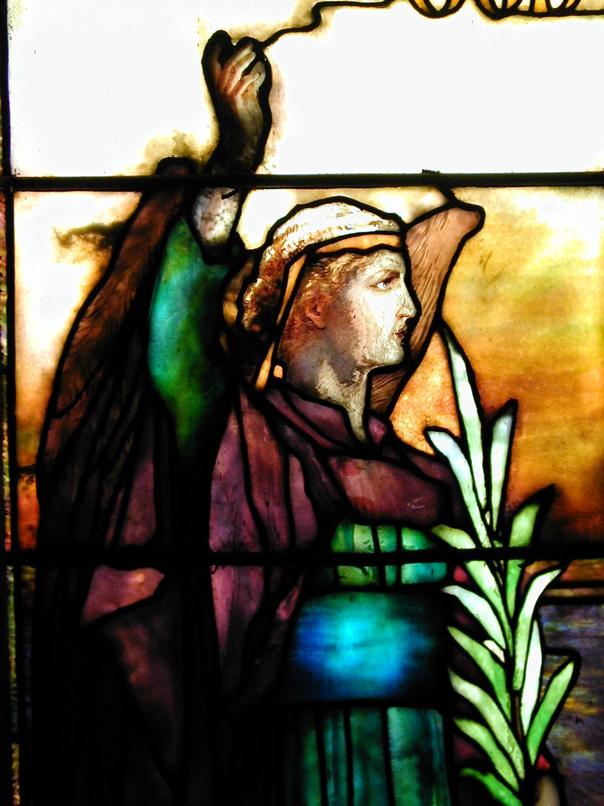 Close-up of stained glass angel