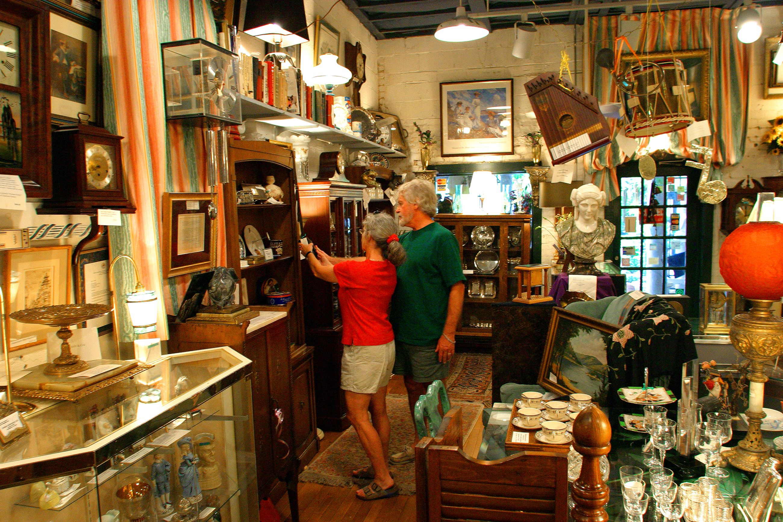 Couple shopping in antique store